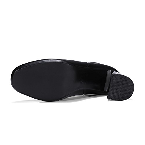 Ankle Nine Designed Boots Round Handmade Toe Genuine Heel Business Leather Basic Seven Women's Black Chunky pqBprw7z