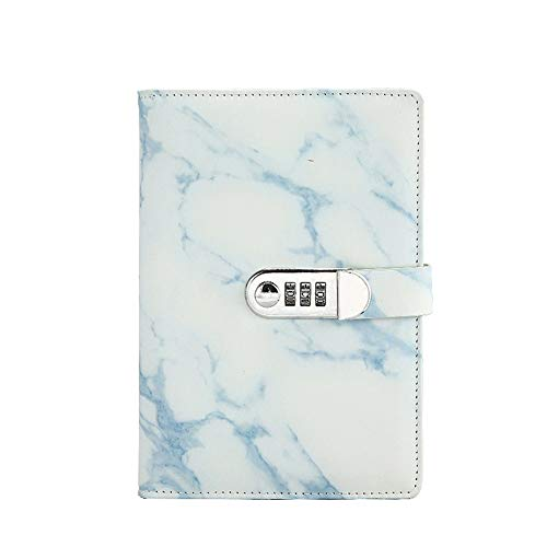 Whthteey Marble Journal Writing Notebooks with Combination Lock Personal Travel Diary Office Notepad (Blue)