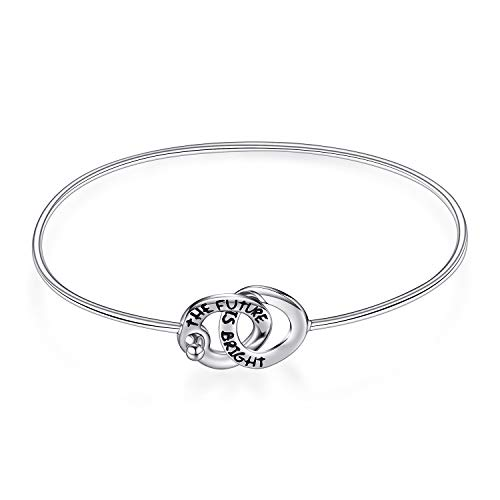 JewelryPalace Engraved The Future Is Bright Intertwined Two Circles Bangle Bracelet 925 Sterling Silver