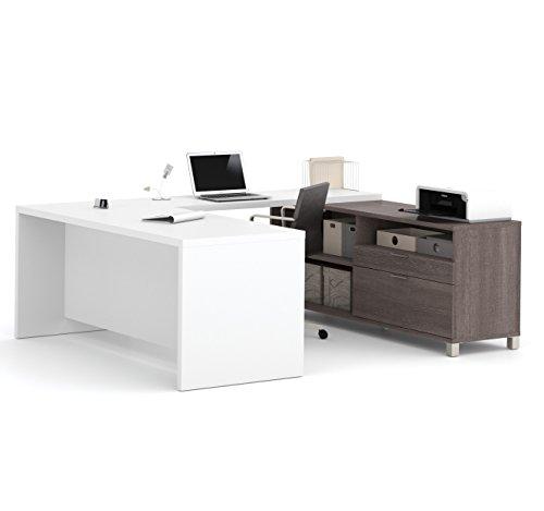 Bestar Pro-Linea U-Desk, Bark Grey/White