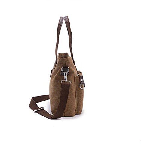 Bolso De Los Hombres De Gran Capacidad De Lienzo Hombro Messenger Bag Ocio Retro Brown1