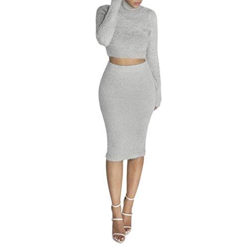 Western 2 Clothes Piece (Sunward Women Sexy 2 Piece Set Clubwear Blouse+Skirt Bodycon Casual Outfit (XL, Gray))