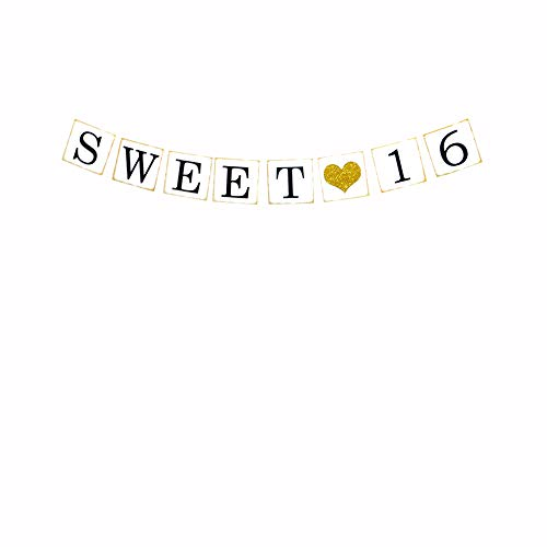 Sweet 16 Party Banner,16th Birthday Party Supplies,16th Birthday Off-White Hanging Pennant Decor,Party Favors, Supplies, Themes and Ideas Decorations]()