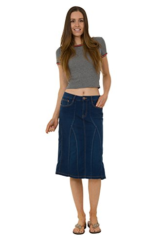 USKEES Kim Stretch Denim Flared Skirt - Indigo Midi Jean Skirt US 8-20