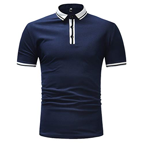(RAINED-Mens Short Sleeve Casual T Shirt Hipster Premium Tees Stylish Fitness Athletic Polo Pique Classic Fit Golf Shirts Dark Blue)