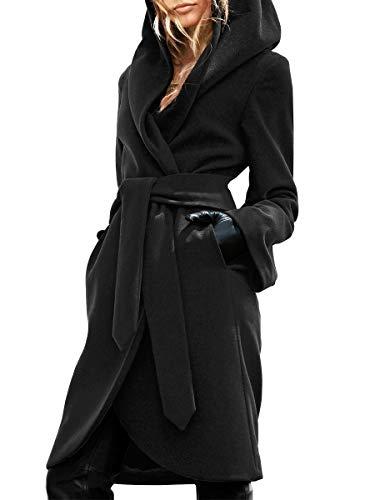SySea Women Lapel Mid-Length Woolen Coat with Belt Long Jacket Belt Outwear with Pocket