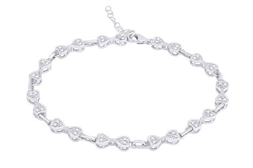 (Diamond Accent Heart Bow Link Bracelet in 14K White Gold Plated Sterling Silver)