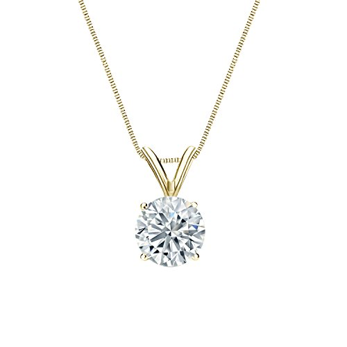 IGI Certified 14k Yellow Gold 4-Prong Basket Round-Cut Diamond Solitaire Pendant (3/4 cttw, H-I, (Four Prong 14ky Gold Solitaire)