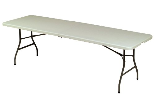 Metal Plastic Folding Table (Meco 8-Feet Folding Table, Mocha Metal Frame and Cream Plastic)