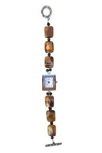 Beadwork By Julie Tiger Eye and Black Crystal Watch (Beaded Watch Tigers Eye)