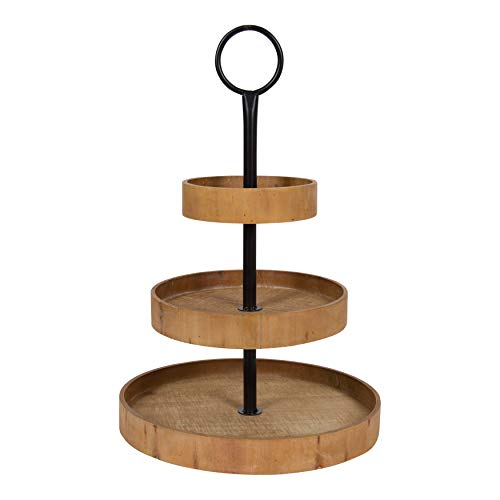 Kate and Laurel Woodmont 3 Tiered Wood Tray, Rustic - Round Tray Key Serving