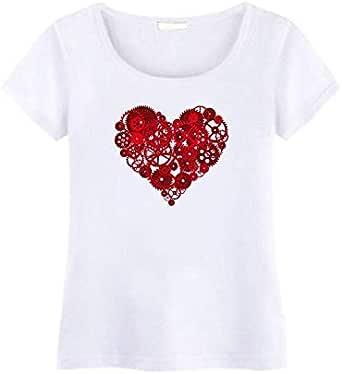 Round Neck Romantic T-Shirt For Women