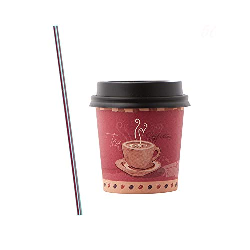 (50 Sets) 4 oz Designed Paper Hot Cups with Lids, BONUS Stirrers, Ideal to go Espresso Shot Cups with Travel Covers