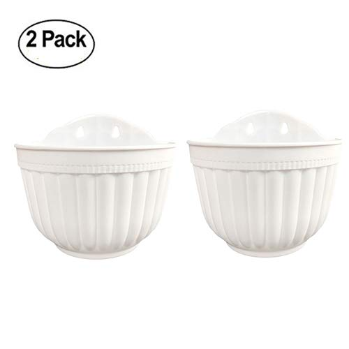 2 Pack Wall Hanging Planter Pots Vertical Garden Living Wall Mount Window Hang Box Plastic Container Indoor Outdoor for Plants Flowers Kitchen Herbs Holder with Drainage Water Reservoir Decor White by Orimerc