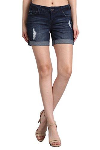 Celebrity Pink Jeans Womens Mid Rise Stretch Distressed 5 Cuffed Hem Denim Shorts