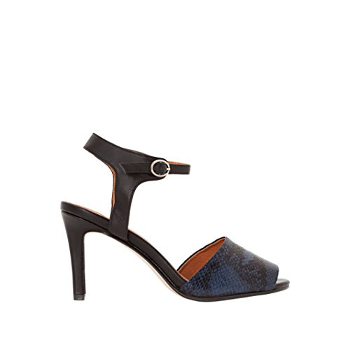 La Redoute Collections Womens Python Effect Leather Sandals Navy blue