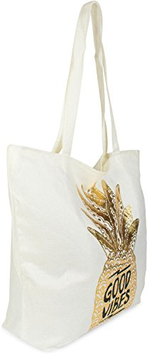 zip White 02012222 bag pineapple golden cloth bag bag Vibes' and Color Gold Gold bag White shopping beach with 'Good styleBREAKER ladies print PnUzxz