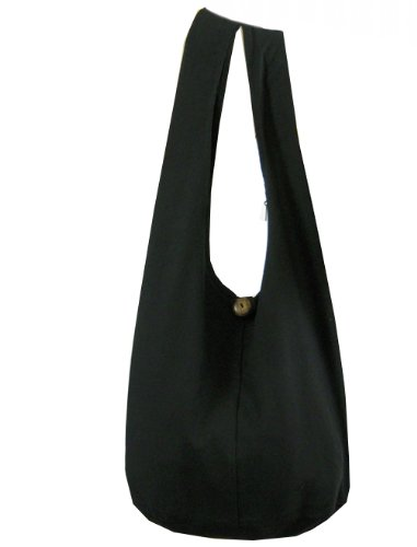 BTP! Thai Monk Buddha Cotton Sling Crossbody Messenger Bag Shlouder Purse Hippie Hobo Medium M2 (Black M2)