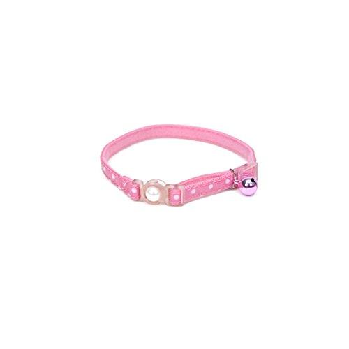 Pink With Polka Dot Overlay Fashion Breakaway LightWeight Cat Adjustable Collar 8-12