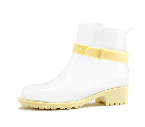Believed Rubber Rain Shoes Fashion Casual Boots Women Flats Water Shoes Women Platform Ankle Boots Yellow Woman wrxwUqH