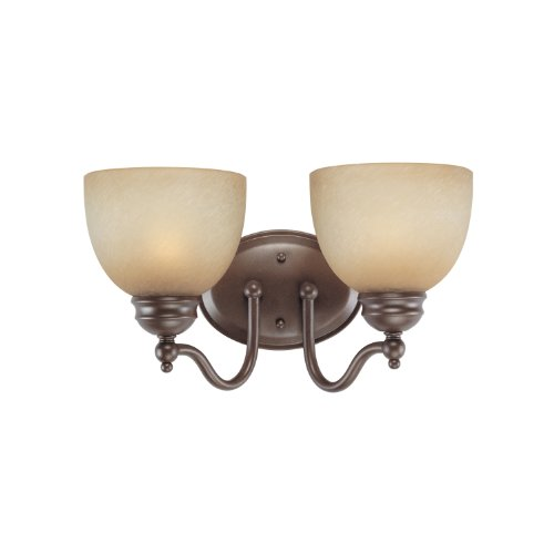 Westinghouse Lighting 6945200 Two-Light Interior Wall Fixture, Saddle Bronze Finish with Antique Amber Scavo Glass