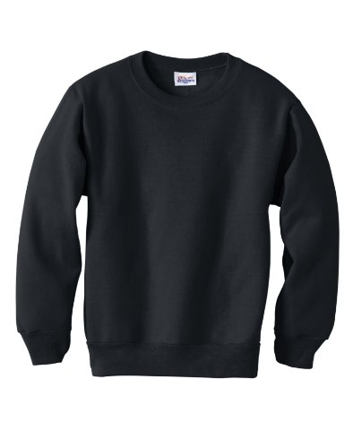 Hanes Youth 7.8 oz 50/50 Crewneck Sweatshirt in Black - Large (14/16)