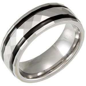 Jewelplus 8.3mm Dura Tungsten® Faceted Dome Band with Black Enamel Inlays Tungsten 7