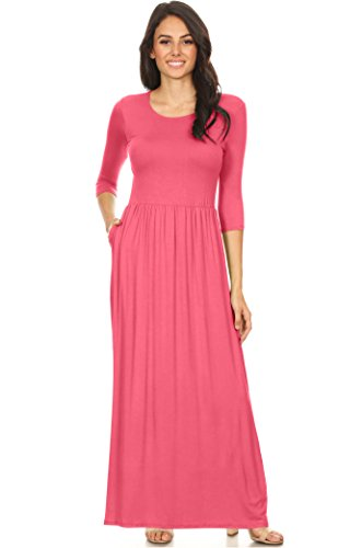 Elastic and Dress Women's Rayon Long Simlu with Maxi Scoop Coral Pockets Neck Empire Waist PqawFBx