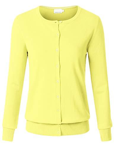 JSCEND Women's Long Sleeve Button Down Crew Neck Soft Knit Cardigan Sweater LEMONYELLOW XL