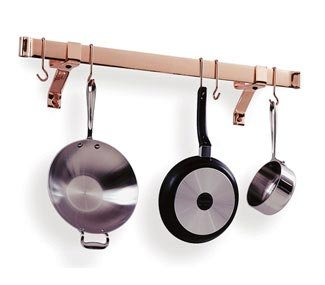 Enclume Premier 36-Inch Rolled End Bar, Wall or Ceiling, Pot Rack, Use with Wall Brackets or Captain Hooks, Hammered Steel