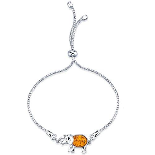 - Peora Baltic Amber Sterling Silver Elephant Adjustable Friendship Bracelet