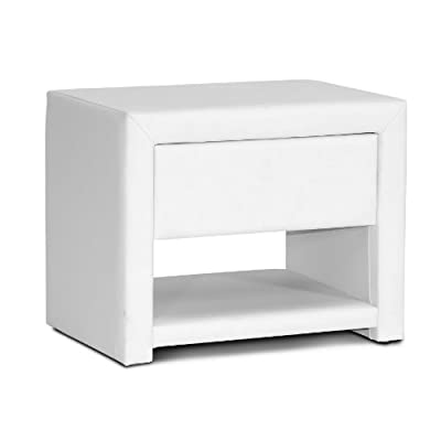 Baxton Studio Massey Upholstered Modern Nightstand, White - Contemporary upholstered nightstand White faux leather Plywood and hardwood frame with polyurethane foam padding - nightstands, bedroom-furniture, bedroom - 316K47RFyrL. SS400  -