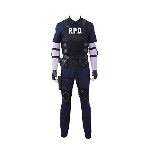 Resident Evil 2 Leon Scott Kennedy Uniform Outfit Cosplay Costume Halloween Suit]()