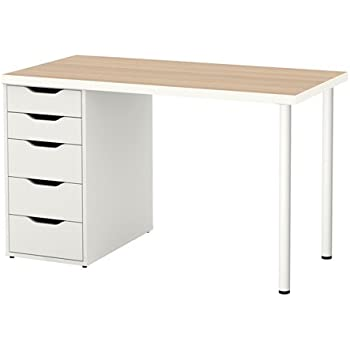 ikea linnmon alex table 47 white stained oak effect kitchen dining. Black Bedroom Furniture Sets. Home Design Ideas
