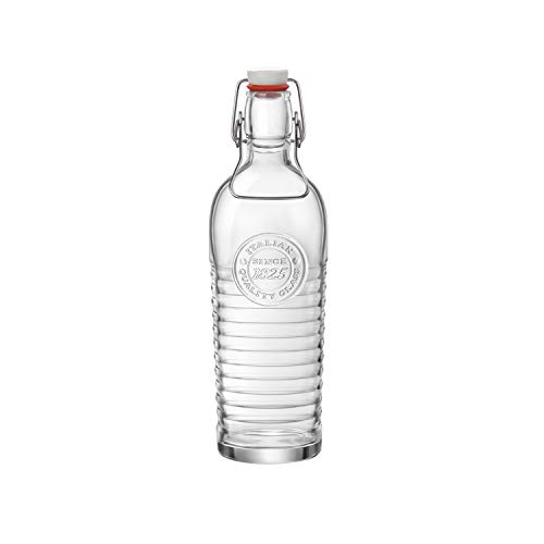 Bormioli Rocco Officina Water Bottle | 37.25 oz, Italian Glass Pitcher | Airtight Seal & Metal Clamp | Easy To Carry Handle, Dishwasher Safe & Eco-Friendly | Safe For Infused ()