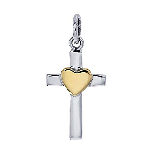- The Silver Sun Collections Rio Grande Small Sterling Silver Cross with Bronze Heart Accent with Chain
