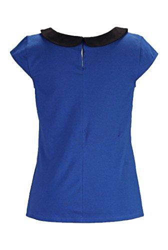 eShakti Women's Peter Pan collar knit top 2X-22W Regular Royal blue/black