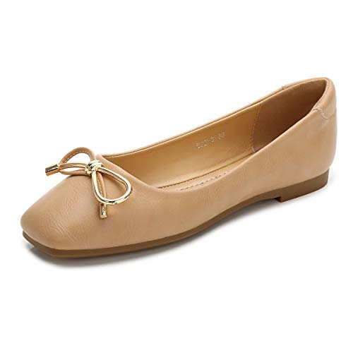 Hee grand Womens Square Toe Bowknot Ballet Comfort Slip on Flats Shoes Ladies PU Loafer Shoes Apricot 8.5
