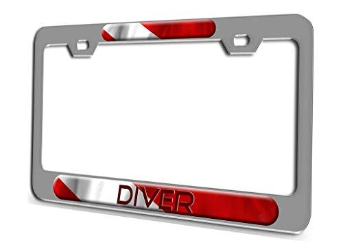 AUdddflicenshf Diver Scuba Diving Aluminum Steel License Plate Frame 3D Style