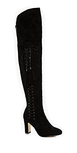 LADIES WOMENS LAURA EYELET DETAILED BLOCK HEEL THIGH HIGH LACE ZIP UP BOOT Black (2742) Xe449r