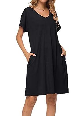 peassa Women's Plain Summer Short Sleeve Casual Loose Pockets T Shirt Dress