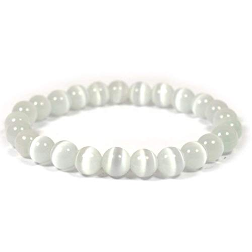 Reiki Crystal Products Natural Selenite Bracelet 8mm for Reiki Healing and Vastu Correction Protection Concentration Spirituality and Increasing ()