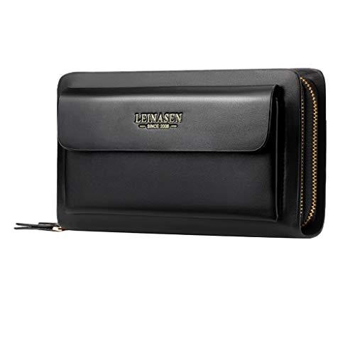 (Men's Wallet,PAQOZ Fashion Business Multi-function Card Holder Waterproof Wallet Double Zipper Bag)