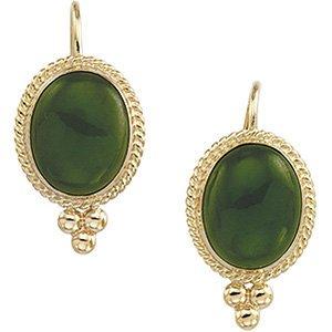 Boucles d'oreilles cabochon jade néphrite