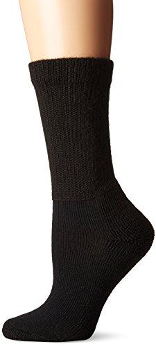 (Thorlos Women's  HPXW Diabetic Thick Padded Crew Sock, Black, Medium)