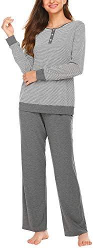 Ekouaer Pajamas Set Women's Cotton Long Sleeve Sleepwear with Long Pants Soft Pj Lounge Set S-XXL