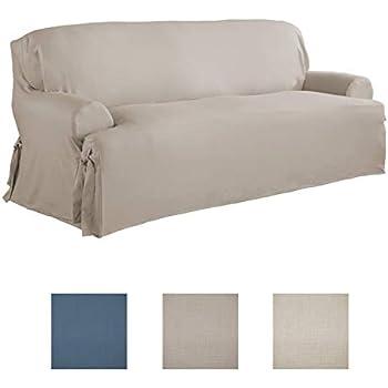 Serta | Relaxed Fit Durable Woven Linen Canvas Furniture Slipcover (T Sofa,  Khaki)