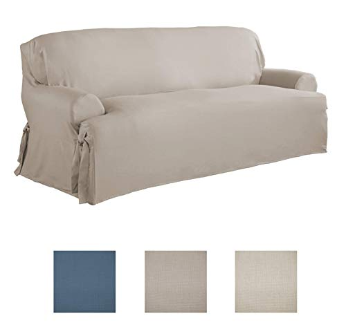 Serta | Relaxed Fit Durable Woven Linen Canvas Furniture Slipcover (T-Sofa, Khaki)