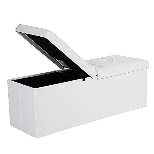SONGMICS 43 Inches Folding Storage Ottoman Bench with Flipping Lid, Storage Chest Footrest Padded Seat with Iron Frame Support, White ULSF75WT (White Ottoman Storage)