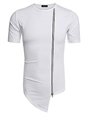 COOFANDY Mens Hipster Hip Hop T-Shirts Casual Irregular Hem Zipper Shirts